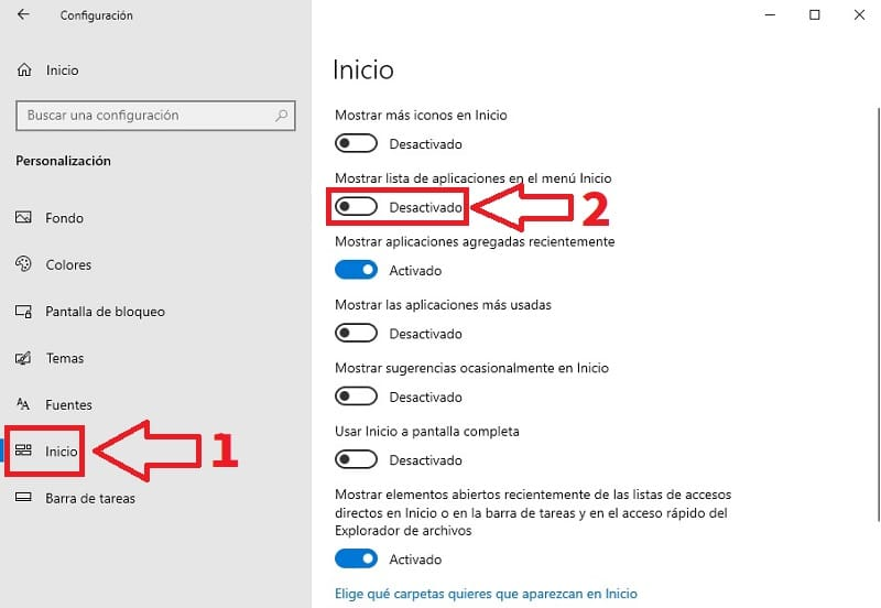 ocultar aplicaciones windows 10.