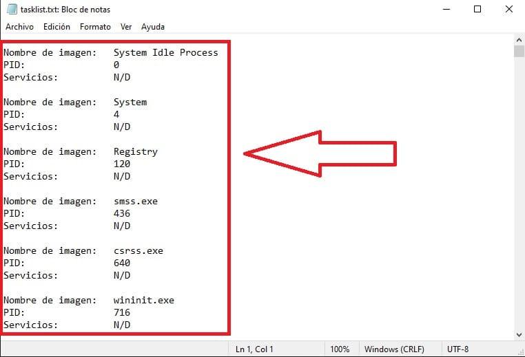 lista txt de programas en ejecución.