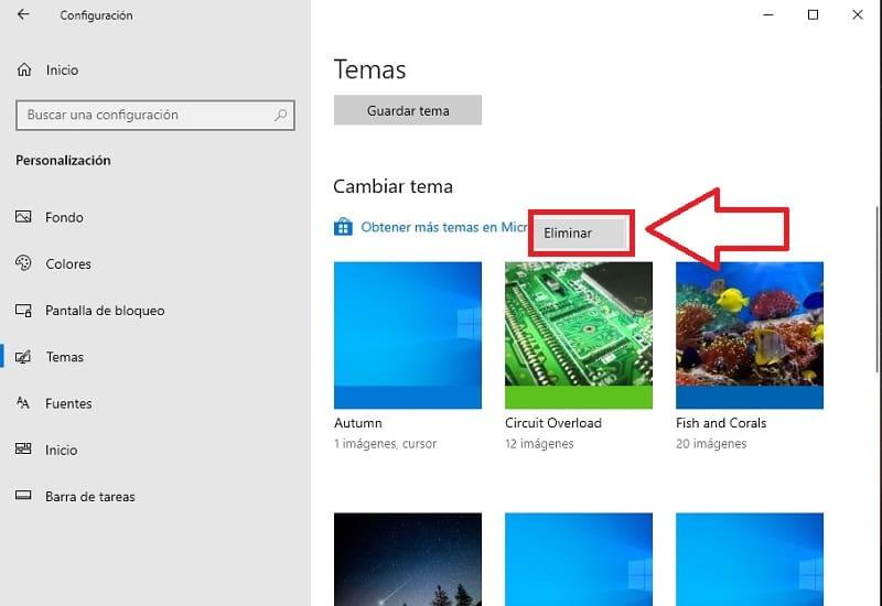 como eliminar temas windows 10