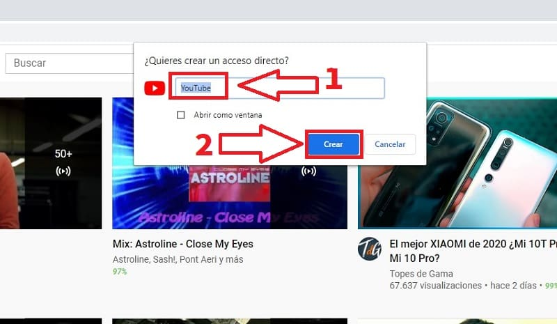 como anclar youtube a la barra de tareas