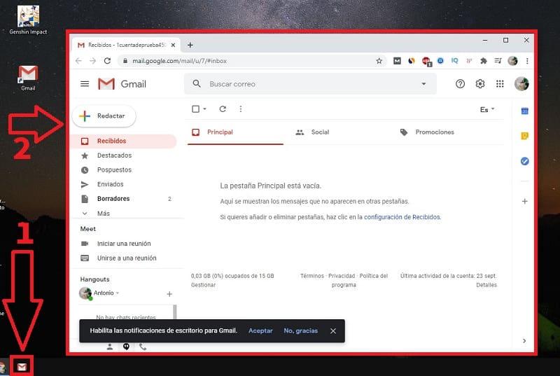 como poner gmail en barra de tareas
