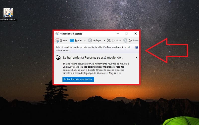 atajo recortes windows 10