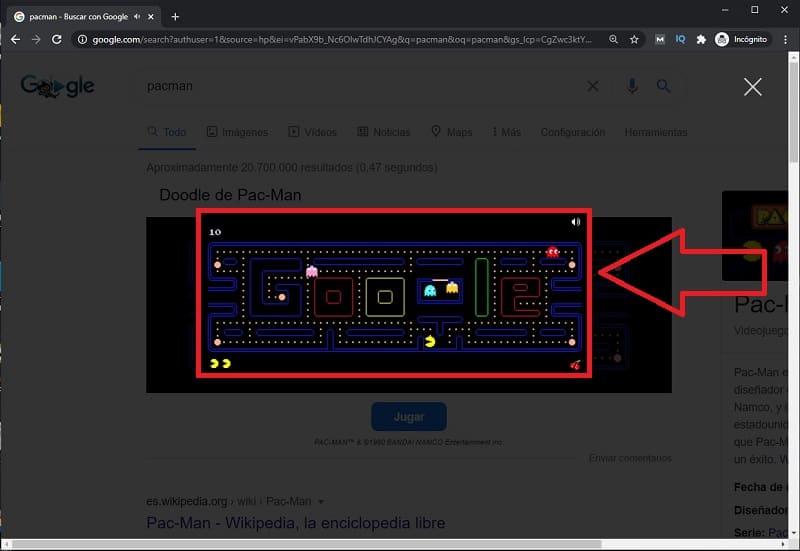 como jugar a pacman en google.
