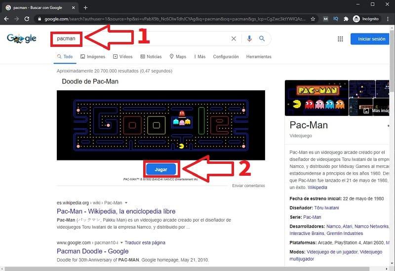 jugar a pacman google.