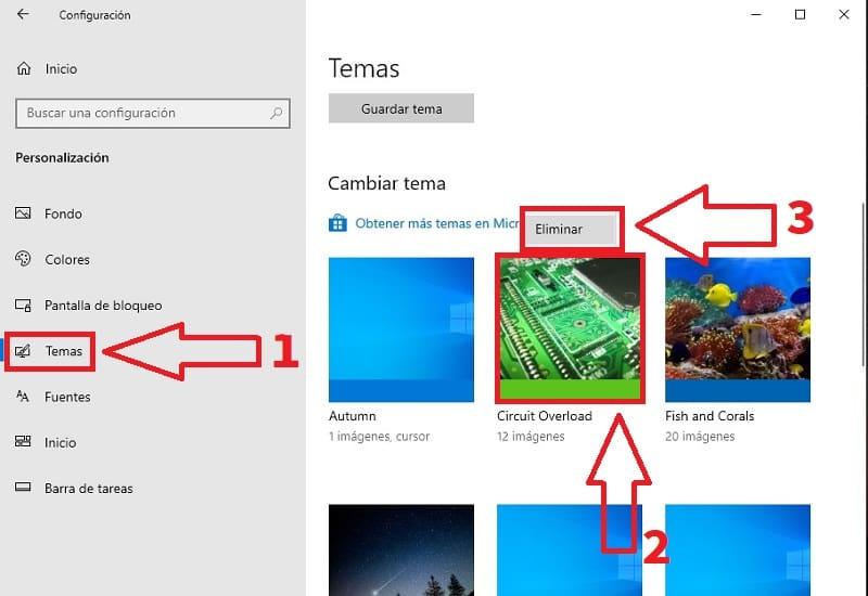 como eliminar los temas de windows 10
