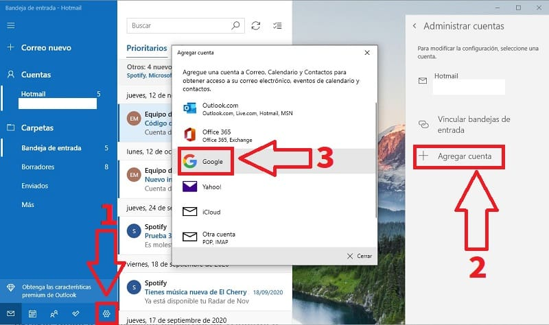 instalar gmail en windows 10.