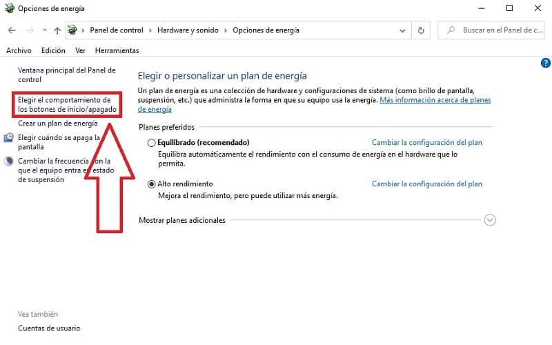 configuración energética windows 10.