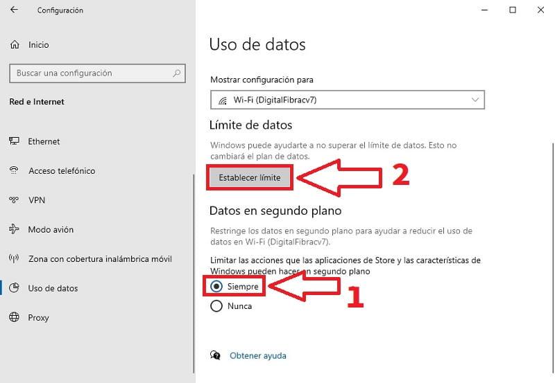 consumo de datos en windows 10