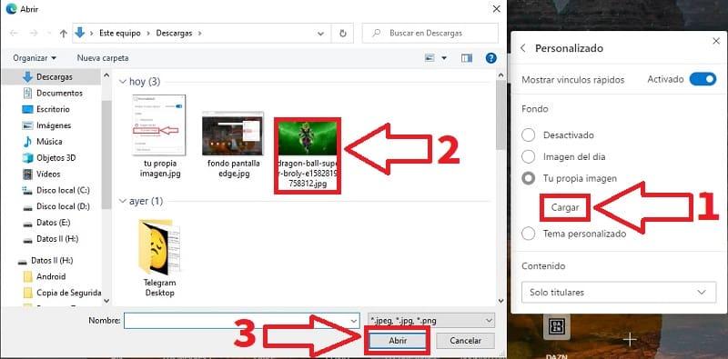 poner imagen de fondo en microsoft edge.