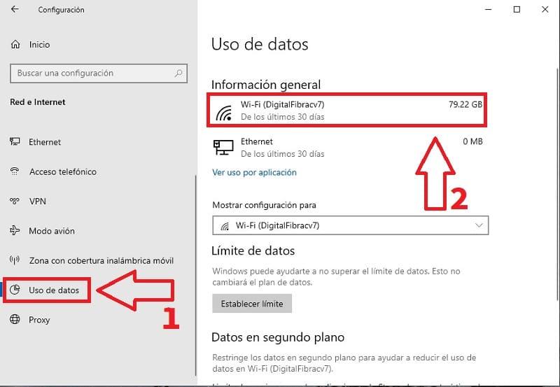 limite de datos windows 10