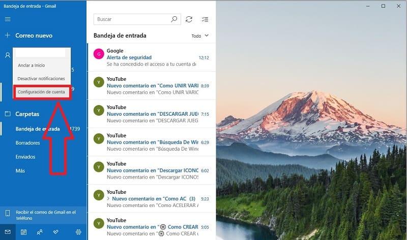 configurar cuenta de gmail en windows 10