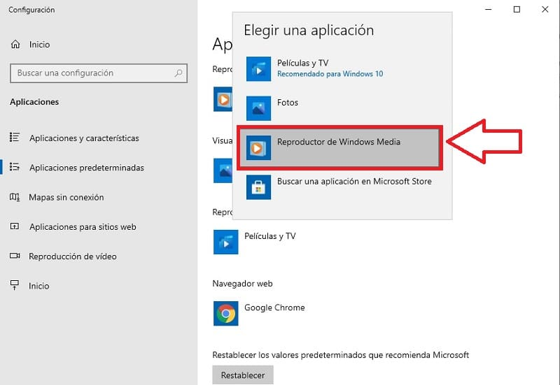cambiar reproductor predeterminado windows 10