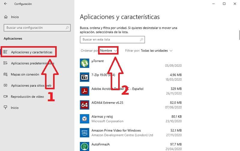 saber el tamaño de apps en windows 10.
