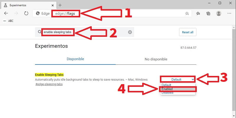 para que sirve Enable Sleeping Tabs