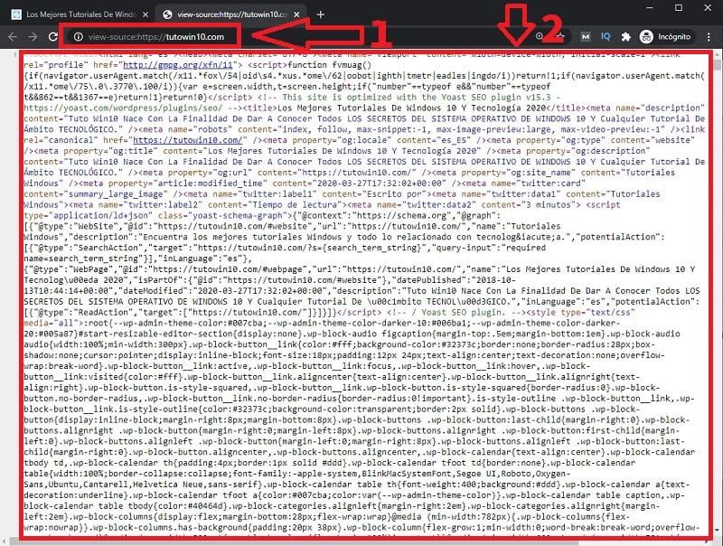 como ver el codigo html de una pagina.