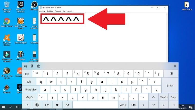 teclado de pc acento circunflejo.