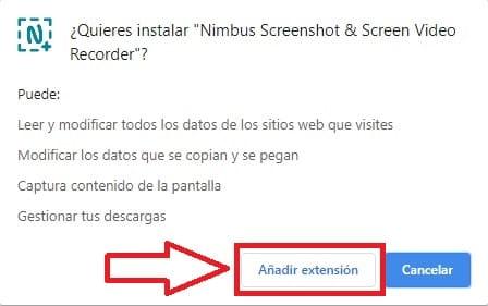 instalar extension nimbus.