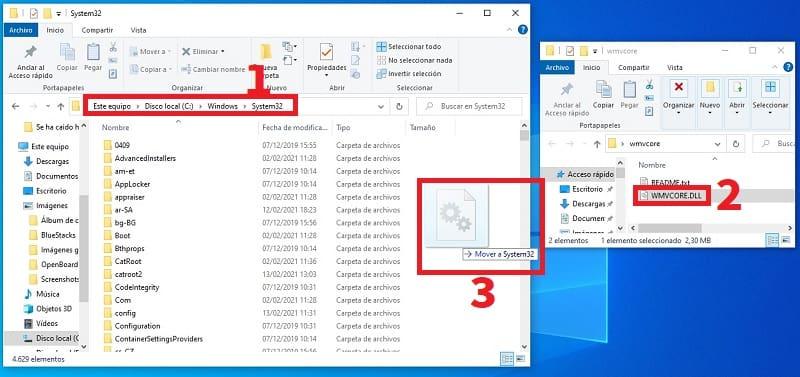 copiar WMVCORE.DLL en windows