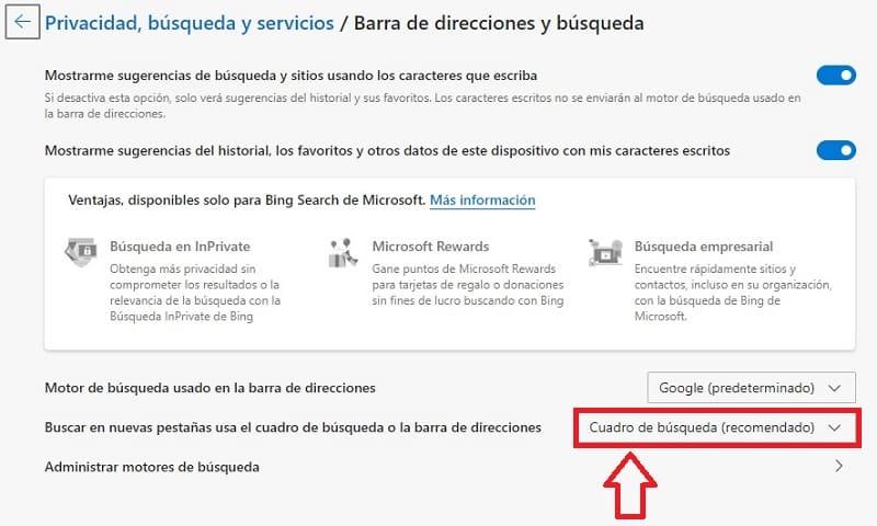cambiar buscador bing por Google en Edge.