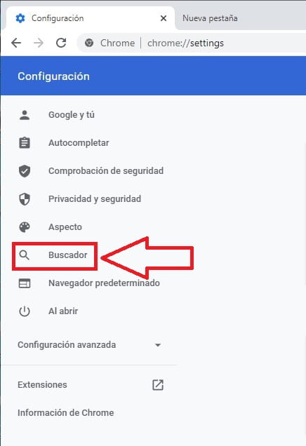 modificar buscador de chrome.