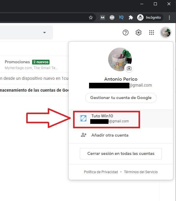 como cerrar gmail en tablet