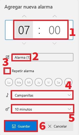 editando una alarma en win 10.