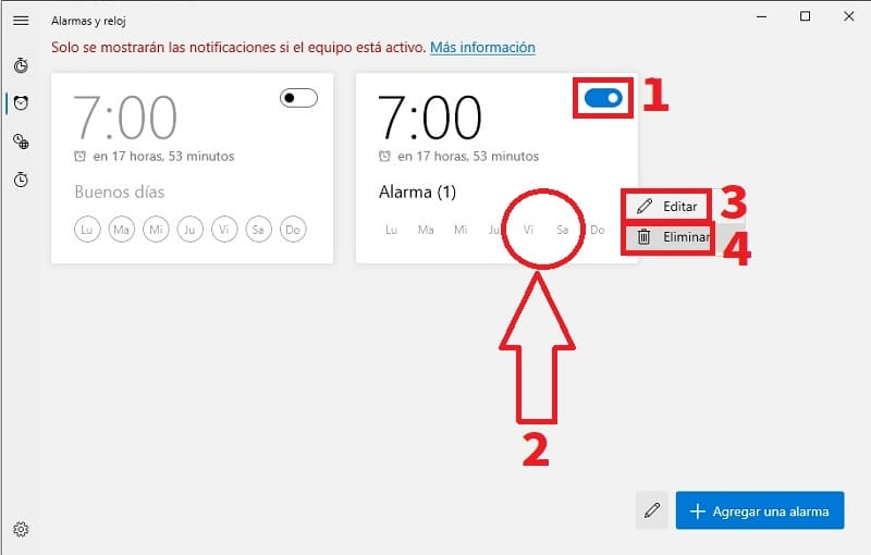 eliminar alarmas en windows 10.