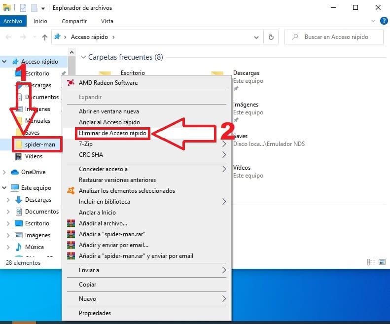 quitar acceso rápido windows 10.