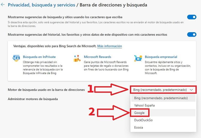 buscador google en microsoft edge