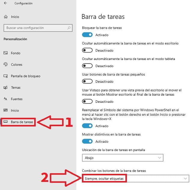 mostrar nombre completo en barra de tareas.