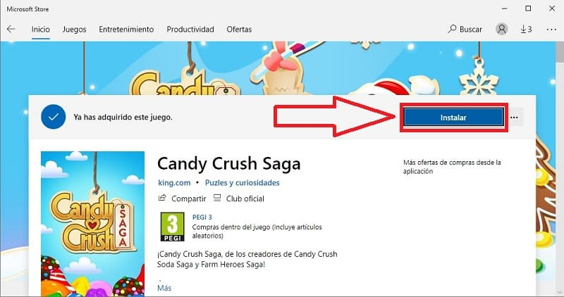 instalar candy crush saga en win 10,
