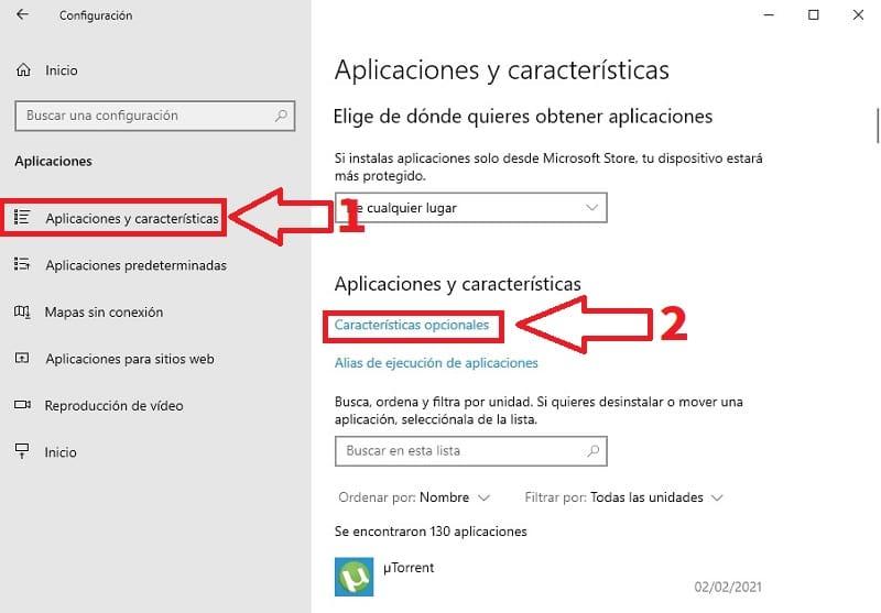 características opcionales windows 10.