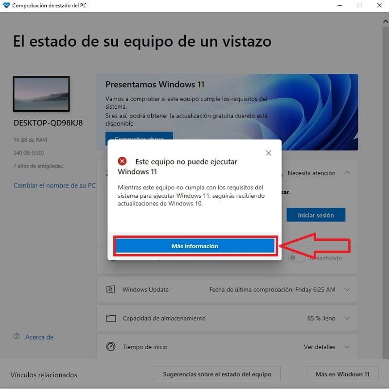 averiguar si mi ordenador no es compatible con windows 11.