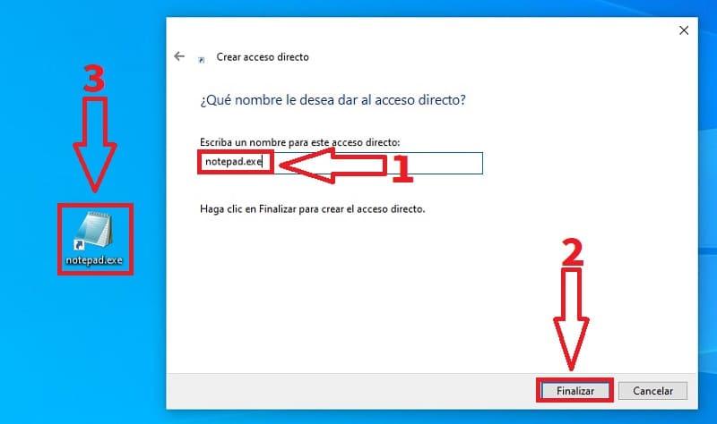 notepad acceso directo.