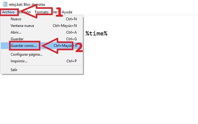 convertir bloc de notas en archivo bat.