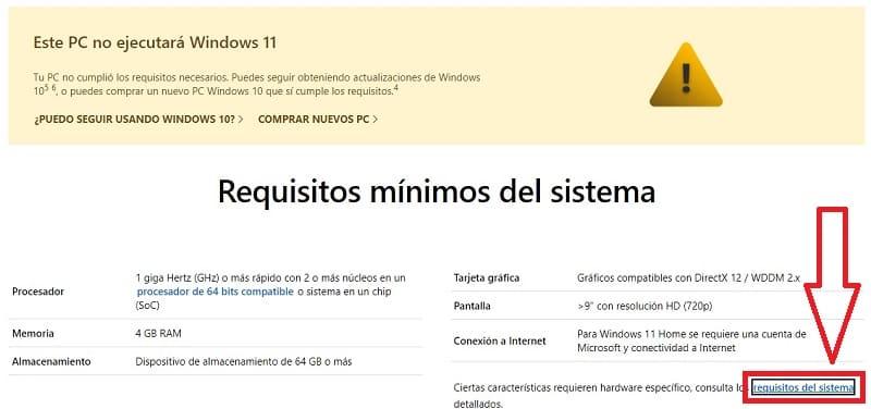 requerimientos mínimos de windows 11.