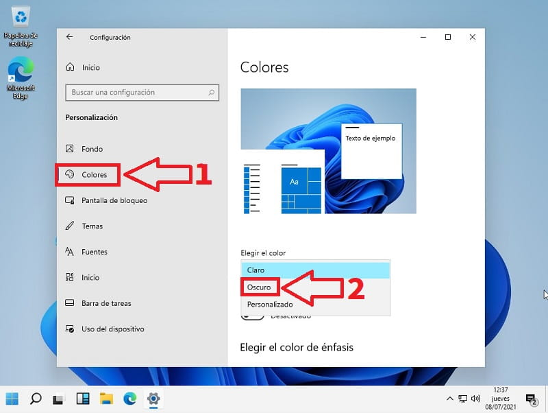 Windows 11 modo oscuro.