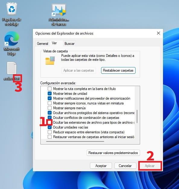 cambiar extensión de archivo windows 11.