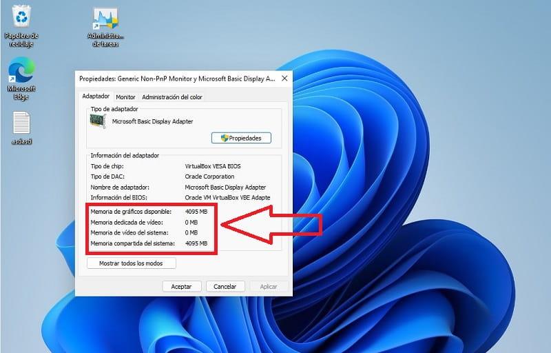 cuantos gb de vram tiene mi pc con windows 11.