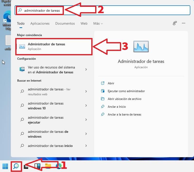 administrador de tareas buscador windows 11.