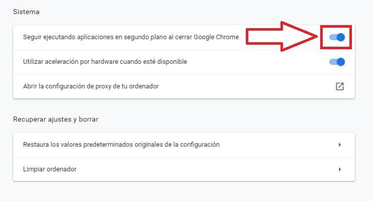 habilitar Chrome en segundo plano.