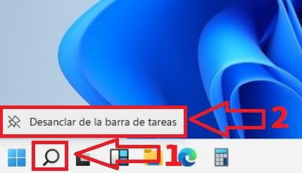 eliminar icon search windows 11.