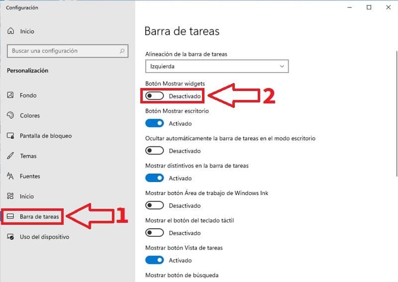 eliminar widgets de barra de tareas.
