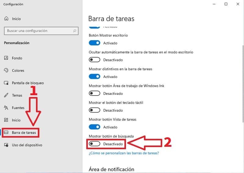 Esconder icono búsqueda Windows 11.