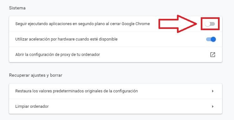 evitar que Chrome se ejecute en segundo plano.
