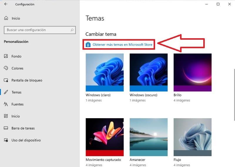 Microsoft Store Temas Windows 11.
