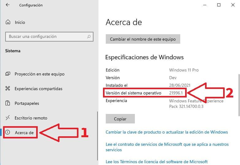 Windows 11 versión.
