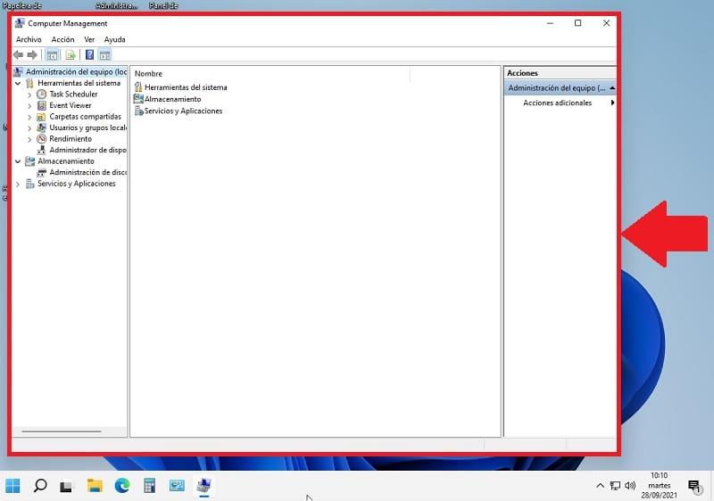Entrar en Administración de equipos Windows 11.