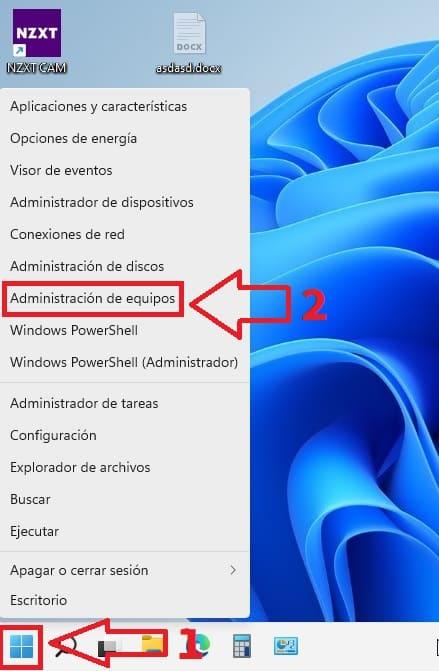 Administración de equipos Windows 11.