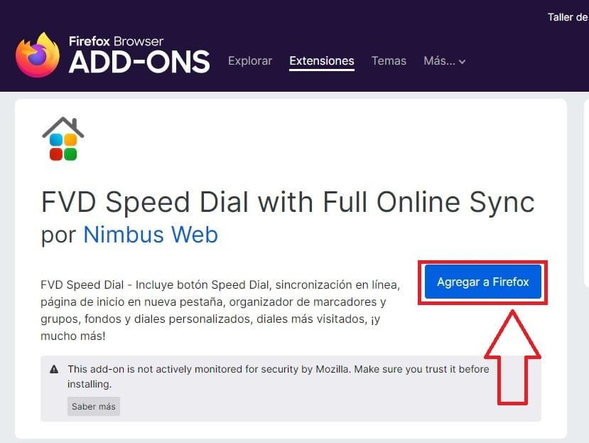 instalar fvd speed dial firefox.